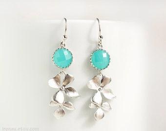 Silver mint earrings, Mint blue glass drop earrings, Silver dangle earrings, Silver orchid earrings, Silver mint floral cascade earrings