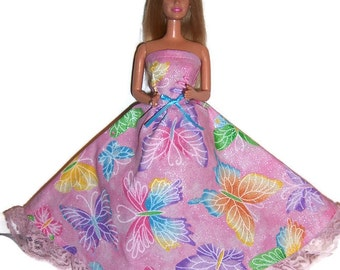 Fashion Doll Clothes-Glittery Pink Butterfly Print Strapless Dress