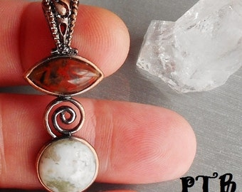 Rebirth/Power & Protection ~ Authentic Red Brecciated Jasper and Green Moss Agate Solid Copper Pendant 2 1/4""