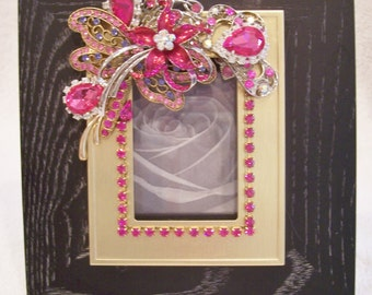 Jeweled Picture Frame. Birthday, Anniversary, Graduation, Holiday Gift.