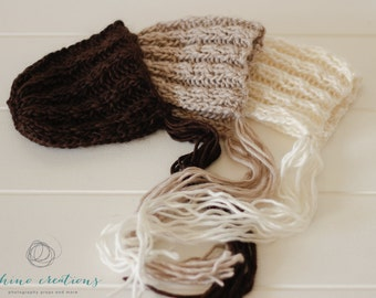 NEW! Chunky Cabled Bonnet- photography prop- Newborn- Made to Order