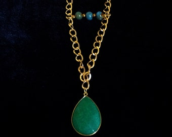Green Pendant & Beads / 15 inch long Gold chain