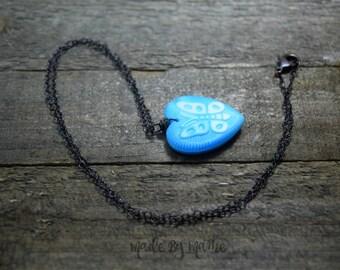 Vintage Sky Blue Glass Heart Pendant Necklace, Bohemian Pressed Glass Butterfly Heart, Czech Glass, Oxidized Copper, Rustic Jewelry, Gypsy
