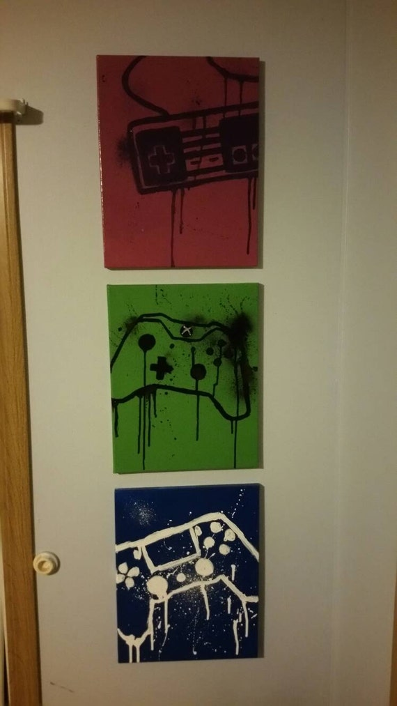 Items similar to set of 3 custom gamer canvas ps4 ps3 for Is ready set decor legit