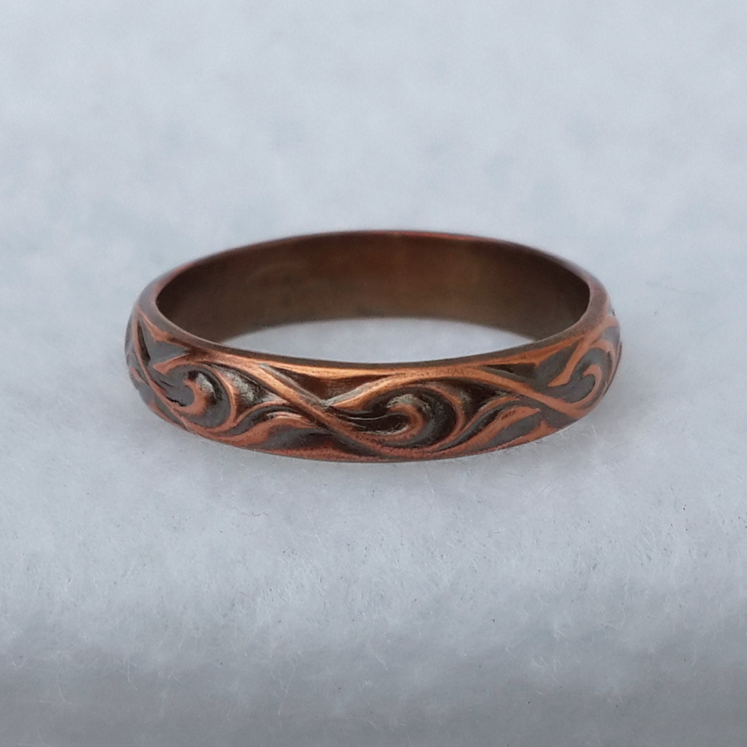 Simplistic Bands: Copper Wedding Ring Simple Paisley Band His And Her Bands