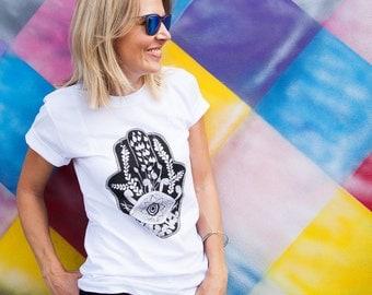 Hamsa T-shirt. Graphic tee. Women's tshirt. Gift for her. White t-shirt. Black Print. Hand drawn design. Good luck hamsa. Zentangle art.