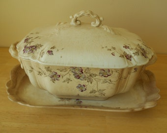 Antique Square Soup Tureen with Lid and Underplate (Bishop & Stonier?)