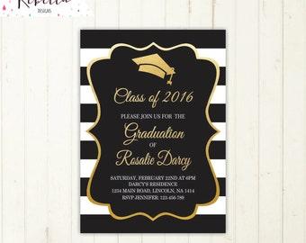 graduation party invitation graduation invitation  gold and black invitation high school grad invitation university graduation invite 213