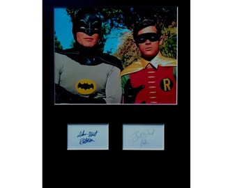 BATMAN and Robin AUTOGRAPH photo display Burt Wart Adam West TV