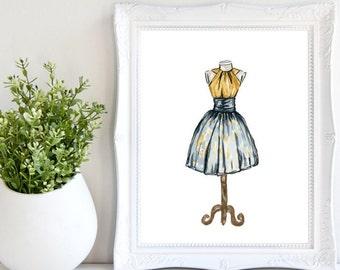 Watercolor Dress 101, Fashion Art, Watercolor Painting Dress Illustration, Blue and Yellow, Designer Print