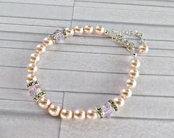 Pink pearl bracelet, Peach pearl bracelet, Freshwater pearl bracelet, pearl crystal bracelet, pearl silver bracelet, Handmade in UK