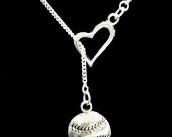 Baseball Softball Gift Necklace, Sports Mom Mother Heart Y Lariat Necklace