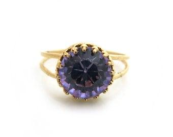 Violet Swarovski Ring, Violet Ring, Purple Ring, Gold ring, Purple Crystal Ring, Bridal Ring, Bridesmaid Gift, Wedding Jewellery