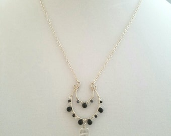 Obsidian and Silver Wire-Wrapped Necklace with Quartz