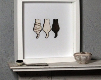 Framed 3 Smoke Fired Ceramic Cats