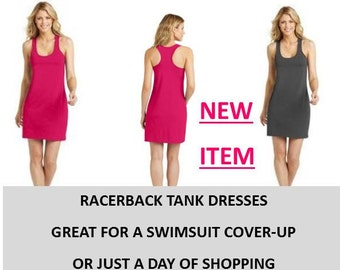 Racerback Tank DRESS  / Monogrammed/Bridesmaid Gift/ Beach Cover-Up