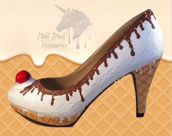 Ice-cream shoes - Icecream cone with vanilla icecream dripping chocolate sauce whipped cream and a cherry on top! - High heels - Handpainted