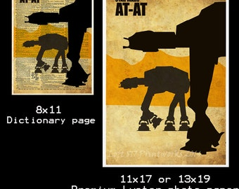 Star wars art print - AT AT Walker - Retro star wars art - dictionary print