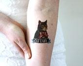 Cat lady temporary tattoo / cat temporary tattoo / cat lady tattoo / cat lady gift idea / cat gift idea / cat accessoire / cat jewelry