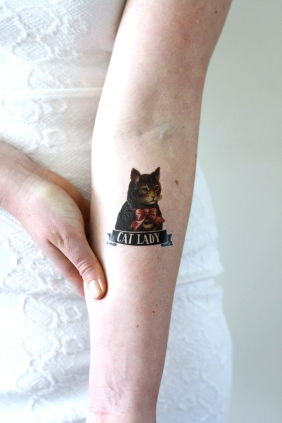 Cat lady temporary tattoo cat temporary tattoo by for Cat lady tattoo