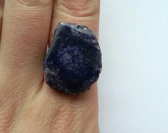 Deep Purple Solar Quartz Ring