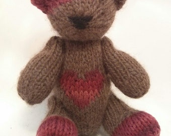 Dean the Hand Knit Teddy Bear, Knitted Bear, Knitted Toys, Bear, Children, Baby, Gift, Stuffed Animal, Toy, Hand Knit Toy, children's toy