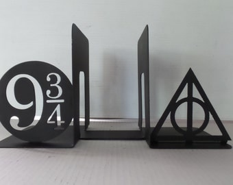 Harry Potter Inspired Platform 9 3/4 Deathly Hallows  Always Bookends - Metal  Checkout our Harry Potter catagory for more