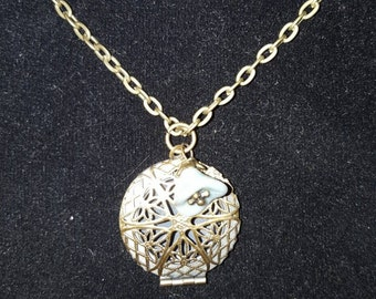 Beautiful Antique Bronze Diffuser or Locket 26mm x 19mm on 26 Inch Necklace with Wire Wrapped Water Flower Charm
