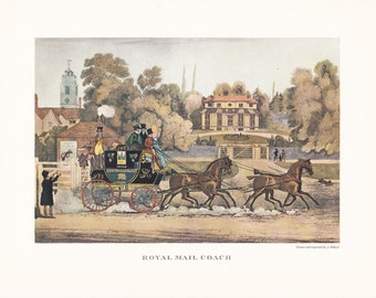 Royal Mail Coach Stage Coach Carriage driving horse drawn carriage british transport vintage print illustration home office décor 9.5 x 7 in
