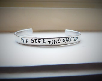 The girl who waited, Hand Stamped Aluminium Cuff Bracelet
