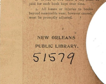 Vintage New Orleans Library Borrowers Card Pocket Early 1900s