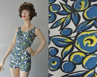 50s Vintage Swimsuit With Lovely Print In Blue Yellow