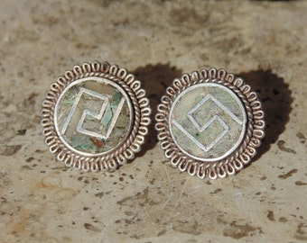Reveriano Castillo ~ Vintage Taxco Sterling and Stone Round Screw Back Earrings ~ c. 1950's