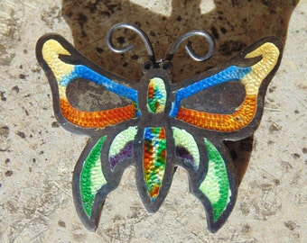 Fuentes ~ Vintage Mexican Sterling and Enamel Butterfly Pin / Brooch