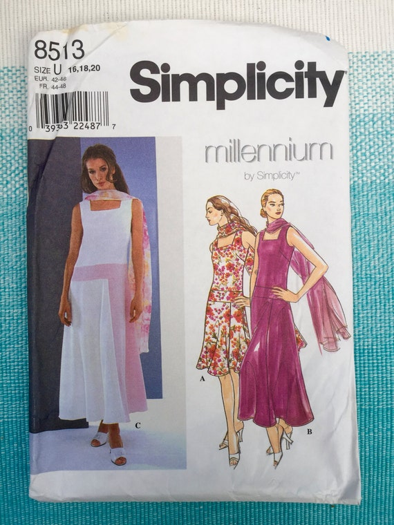 1990s Simplicity 8513 Sewing Pattern Ladies Misses Dropped ...