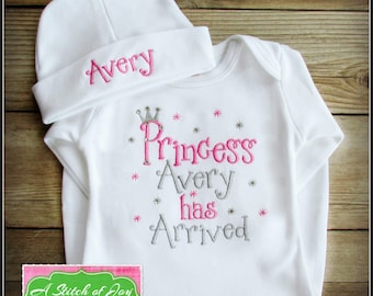 Princess Has Arrived Gown or Bodysuit, Princess in Here, Baby Girl is Here, Our Princess, Birth Announcement, Embroidered or Appliqué
