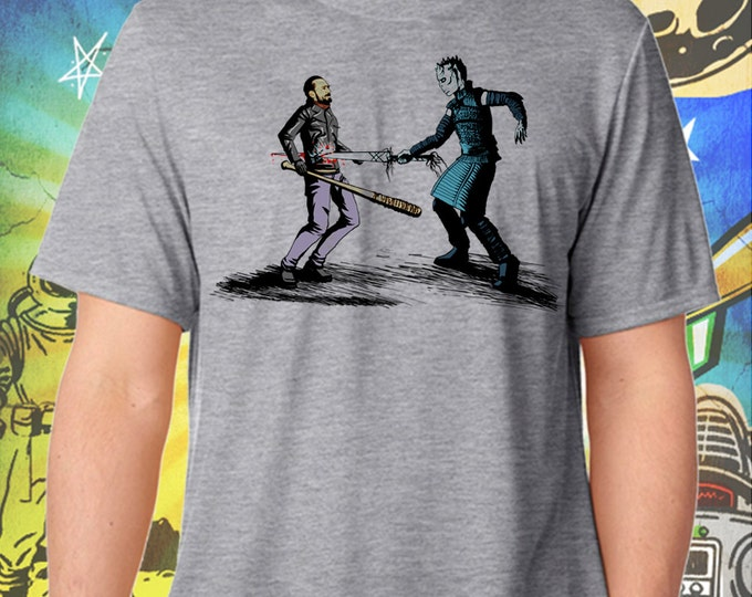 Game of Thrones / Walking Dead / Mens Gray Shirt / Rick Grimes Ends The Night King's Winter