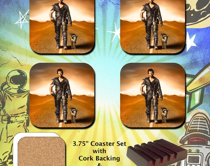 """The Road Warrior / Mad Max 2 / Mel Gibson as Mad Max with """"Dog"""" / Coaster Set"""