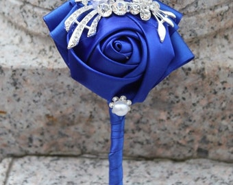 Satin Roses Boutonniere  - Available in different colors