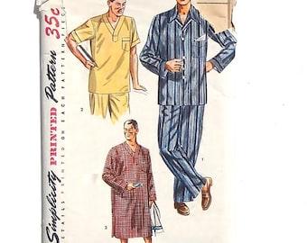 Vintage 1952 Simplicity Men's 2-Piece Pajama Set and Nightshirt Sewing Pattern #4108 - Size Medium ( 38-40)
