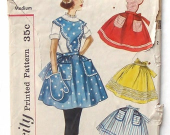 Vintage 1957 Simplicity Apron w/Matching Mitt Sewing Pattern #2307 - Uncut Aprons - Size Medium - Full and Half Aprons
