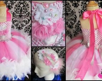 Pink feather tutu dress/pink tutu dress/feather dress/birthday feather dress/birthday tutu dress