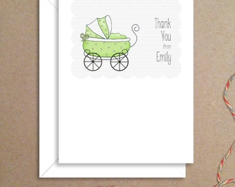 Flat Thank You Notes - Green Carriage Flat Notes - Shower Thank You Cards - Illustrated Note Cards