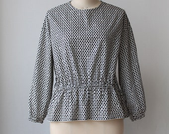 Peplum blouse, Cotton Spring Summer blouse - Black and white
