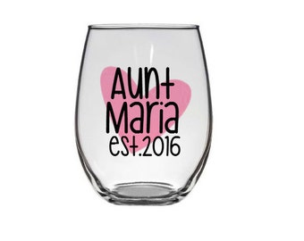 Aunt Glass, Future Aunt, Baby Announcement, Personalized Glass, Aunt Gift, Aunt's Personalized Glass