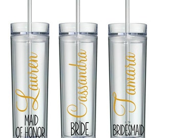 4 Personalized Bridesmaid Tumblers, Wedding Party Tumblers, Bachelorette Party, Bachelorette Cups