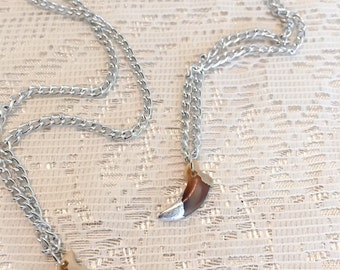 Fox Claw necklace with silver leaf tip