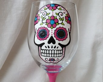 Sugar Skull Hand Painted Wine Glass Day of the Dead Dia De Los Muertos Pink Turquoise