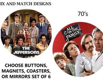 Tv show memorabilia, Tv show gifts, Coaster favors, Magnet gifts, Tv show magnet, The Jeffersons, Unique coaster set,70s gifts,Archie Bunker