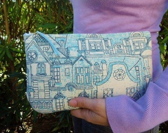 Fabric clutch,fabric pouch,quilted clutch,canvas clutch,canvas pouch,canvas bag,blue clutch,turquoise clutch,turquoise bag,quilted bag